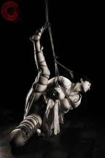 Very stressful partial suspension Shibari bondage in kimono. WykD method TK. Bondage images by WykD Dave & Clover.