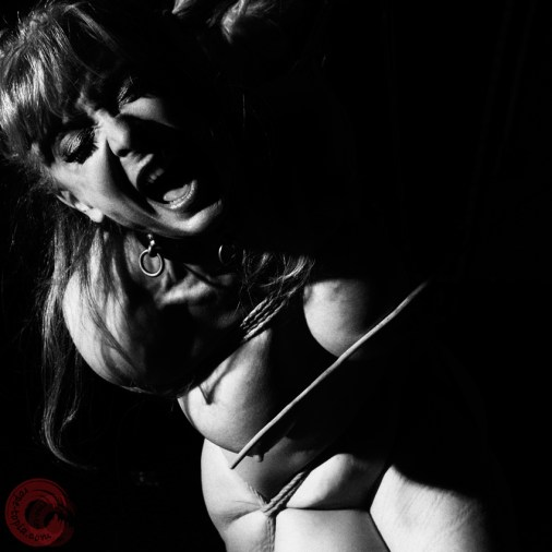 Nina Hartley in Shibari bondage partial suspension. Breast caning by Ernest Greene. Image Clover, Rope by WykD Dave #WykDRope