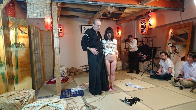 Osada during a bondage session at Studio Six