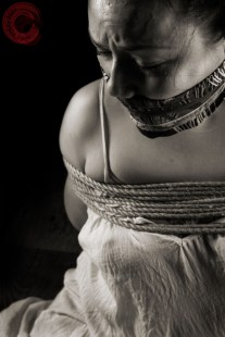 Sophia Shibari tied and tenugui gag