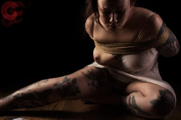 Sophia Shibari beautiful in bondage and tattoos