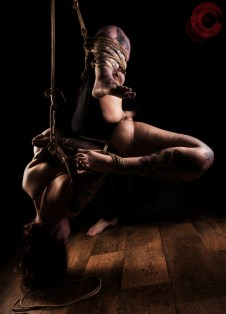 Sophia Shibari hard inverted suspension futomomo crotch rope tattoos.