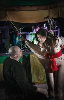 Shibari bondage partial suspension beginning of Kinbaku performance at BeachBind in Jamaica