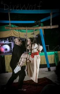 Shibari bondage transition as WykD Dave suspends Clover at Beachbind in Jamaica