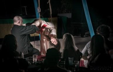 Crowd enjoying Kinbaku show in Jamaica by WykD Dave & Clover
