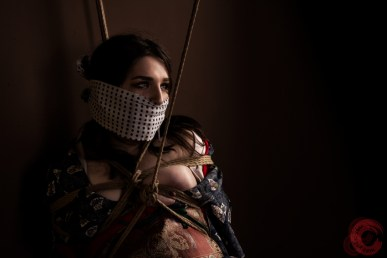 Bound and gagged, kimono, tenugui