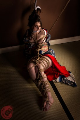 Bound body and legs, kimono and juban, gagged in floor bondage. Model Alexa.