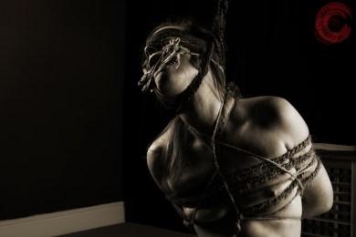 Tied hard, neck rope, tongue tied, breast bondage.