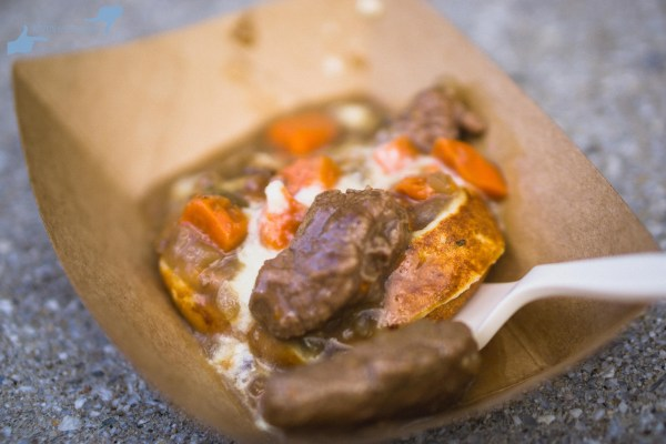Potato and leek waffle with beer-braised beef