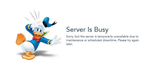 "Capture of Disney's ""Server is Busy"" Error Message"