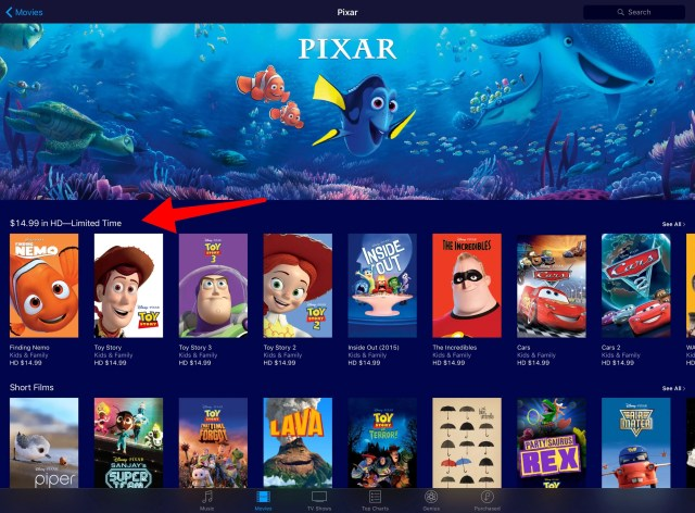 Pixar Movie Sale