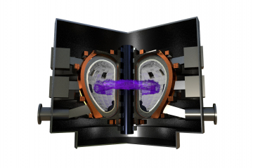 Toroidal chamber with magnetic coils (Tokamak)