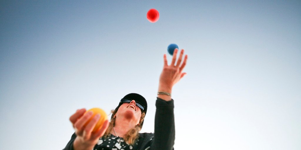 Juggling for health and exercise and coordination