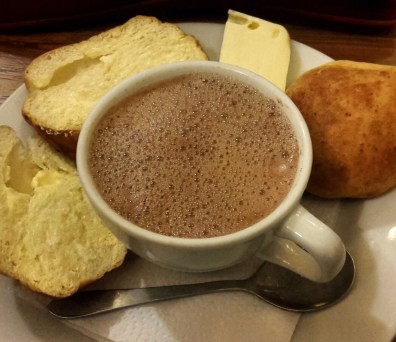 Hot chocolate and cheese