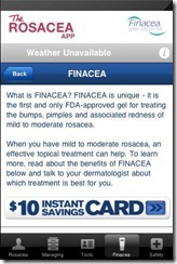 Finacea gel coupon card