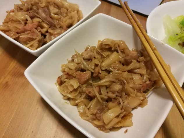 Stir-fried pork noodles