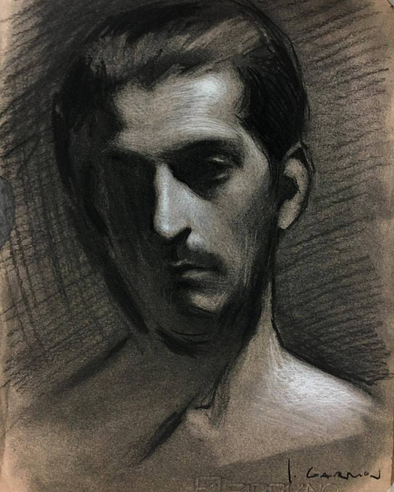 Male-Portrait, Realism, Art, Sketches, Painting, Charcoal, Contemporary-Art