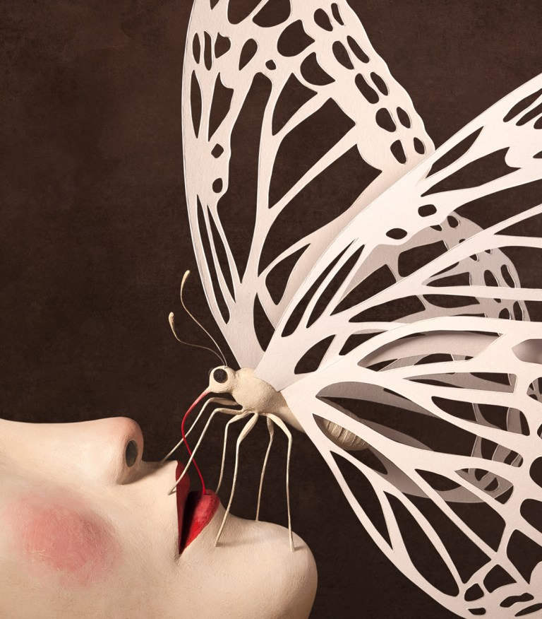 Irma-Gruenholz, atelier, studio, portrait, sculpture, bust, art, artwork, modern-art, contemporary art, butterfly, paper-art
