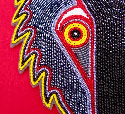 Isabella_Falashoka, Beading, Native-American-Art, Chicasaw, Indian-Art, Traditionall-Art, textiles, fine-art, art, new-art, contemporary-art, women-artists, female-artists, creative, wolf, wolves, spirit-animals, wolf-clan