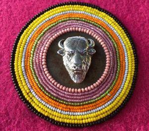 Isabella_Falashoka, Beading, Native-American-Art, Chicasaw, Indian-Art, Traditionall-Art, textiles, fine-art, art, new-art, contemporary-art, women-artists, female-artists, creative, buffalo