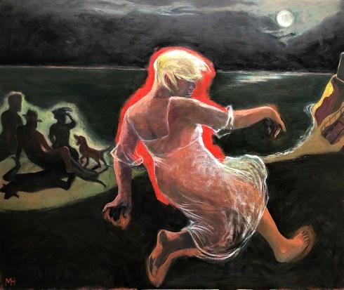 Moonlight, Dix, Grosz, Expressionist, Painting, Dancing