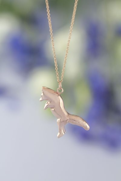 Pouncing fox necklace rose gold
