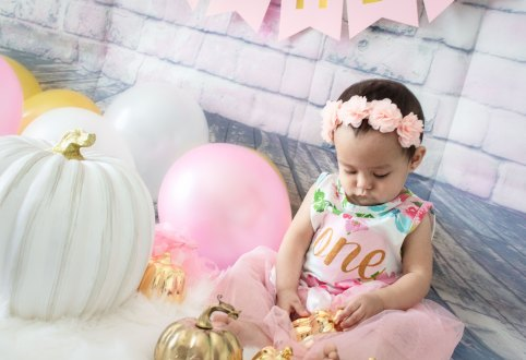 One Year Cake Smash Baby Girl Pink Flower Dress Sitting