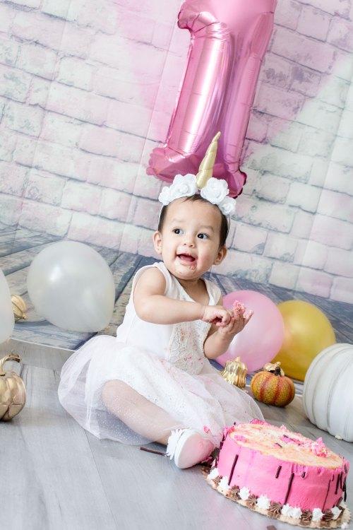 Baby Girl One Year Cake Smash Unicorn Dress