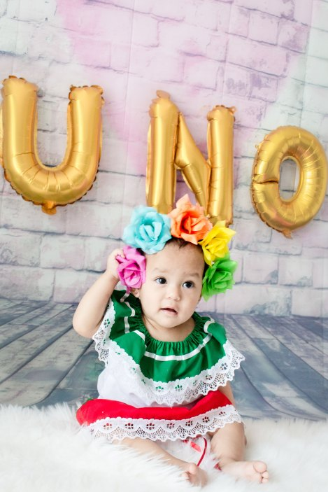 One Year Cake Smash Uno Baby Girl Mexican Dress