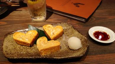 Heart tamagoyaki, kawaii~!! — at Tsukada Farm.