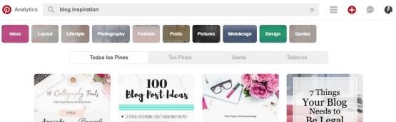 Pinterest usa un Smart Search o buscador inteligente que te ofrece variaciones de palabras clave sobre la que has escrito, ofreciéndote información valiosa sobre las busquedas relevantes