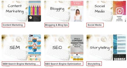 Configura correctamente los nombres de los tableros de tu cuenta Pinterest acorde con tu nicho de mercado y tu target, sé escueto y directo