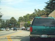 Traffic jam going to the freeway on Los Felix Ave.