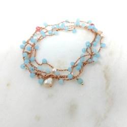 Cavigliera Cristalli azzurro e perle Rosa Rosa Bijoux