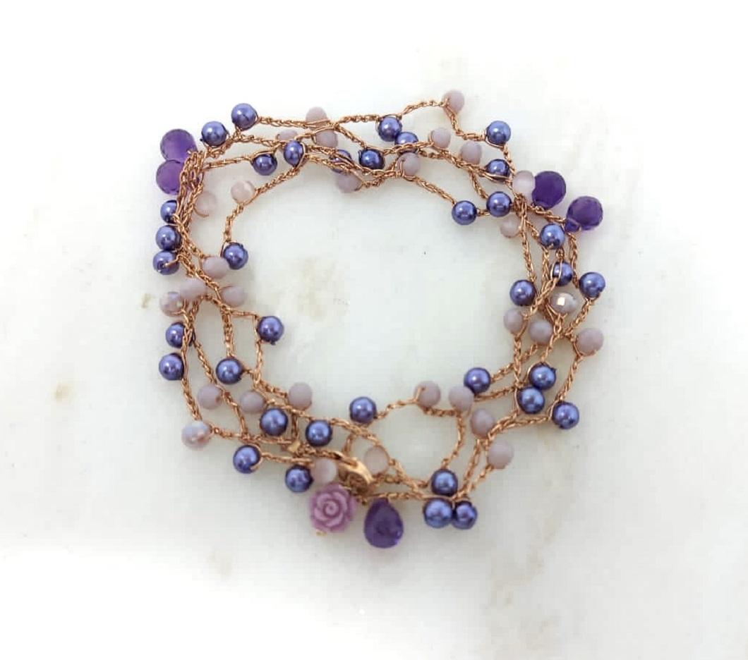 Cavigliera Perle viola e cristalli lilla Rosa Rosa Bijoux