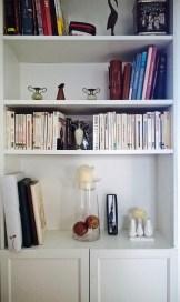 Bibliothèque placard, avec livres de poche et souvenirs