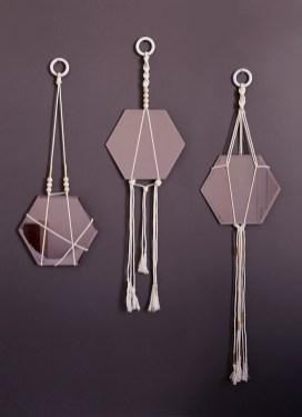 Suspensions miroir en macramé