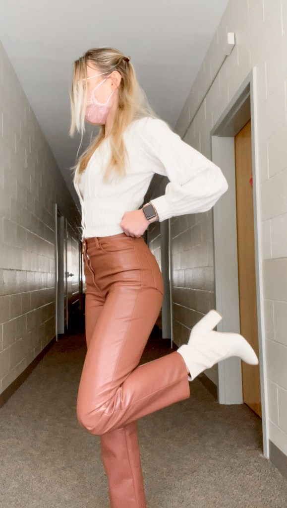 Outfit wearing brown melina leather pants aritzia and white aritzia sweater