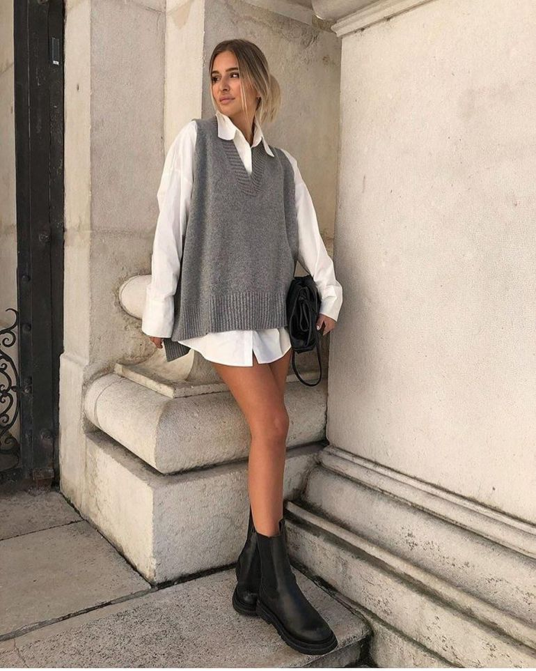 sweater vest and oversized dress outfit
