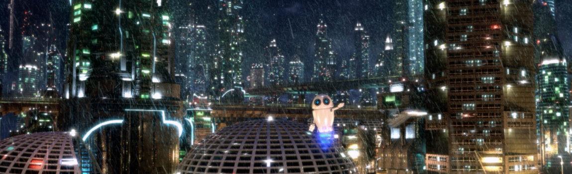Robot flies over future city