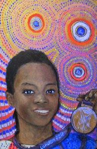 Gabrielle Douglas with black light