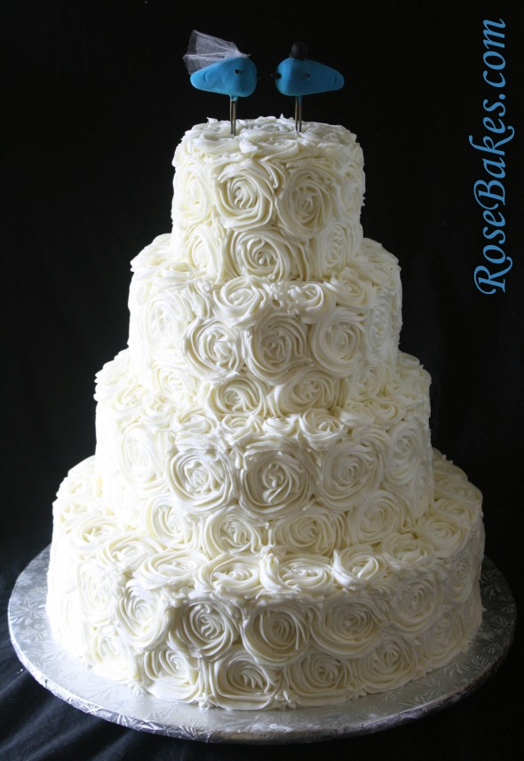 Ivory Buttercream Roses Wedding Cake with LoveBirds Cake Topper Save