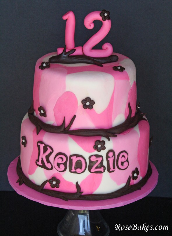A Girly Pink Amp Brown Camo Cake