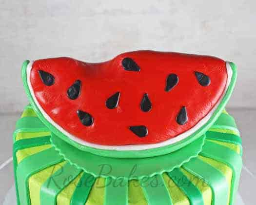 How To Make A Slice Of Watermelon Cake Topper Rose Bakes