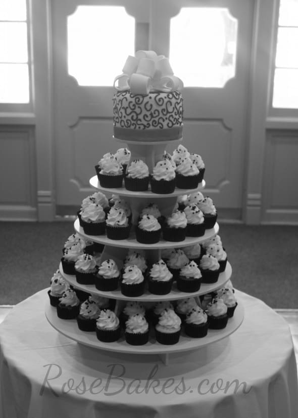 Red  Black and White Wedding Cake and Cupcake Tower   Rose Bakes Black and Red Wedding Cake and Cupcake Tower BW