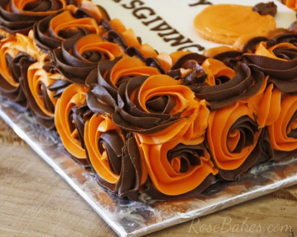 How to Make Two Colored Swirled Roses on Cake  Thanksgiving Cake     Brown and Orange Buttercream Roses