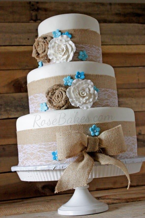 Burlap Amp Lace Rustic Wedding Cake Rose Bakes