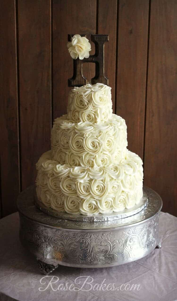 Rustic Buttercream Roses Wedding Cake