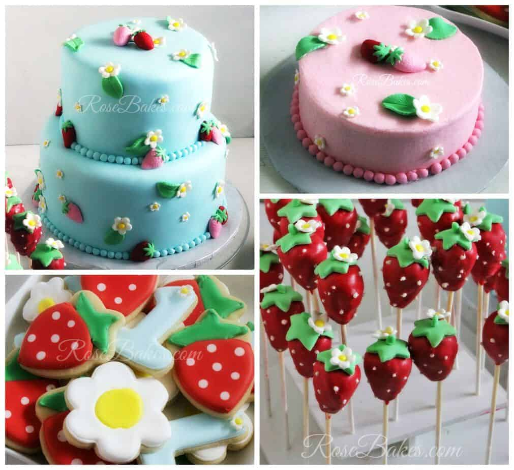 Strawberries 1st Birthday Party Cake Cake Pops Cookies