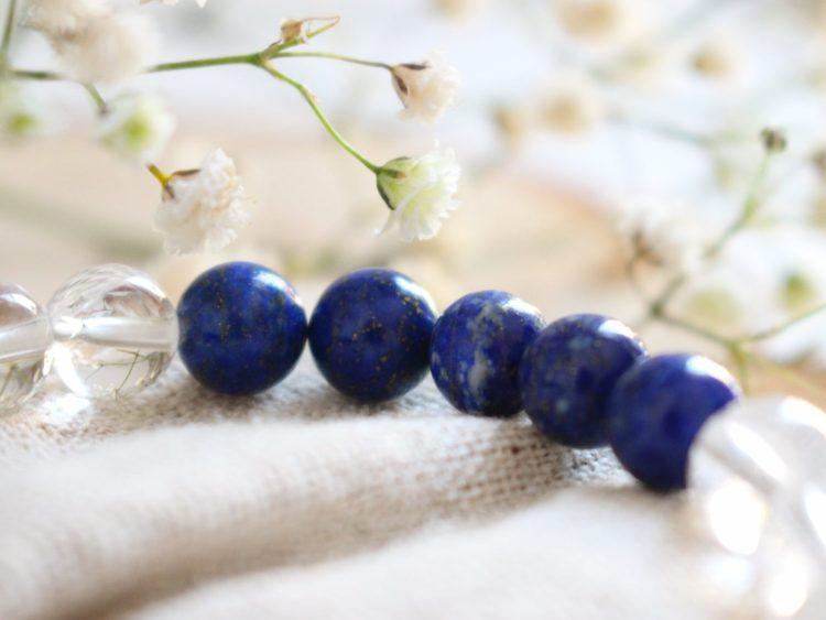 """Bracelet """"Serenity"""" Lapis-Lazuli & Cristal de roche"""